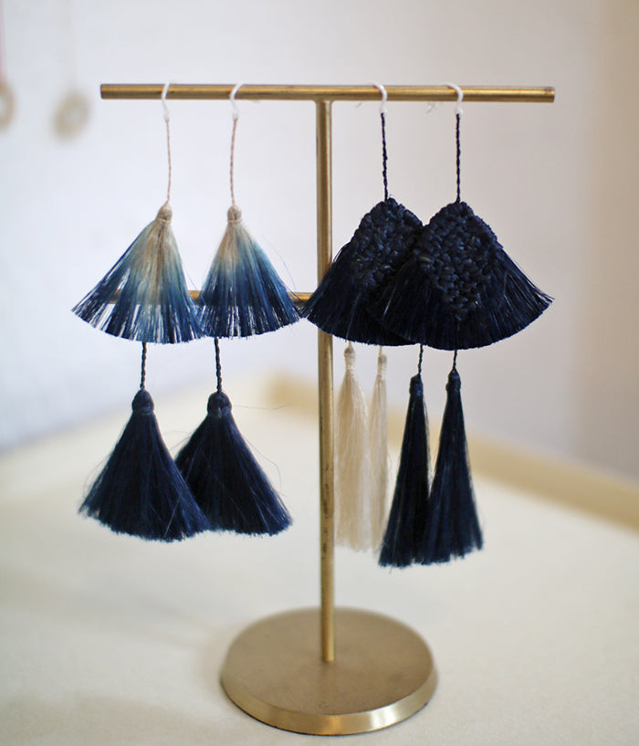 "YUIKOUBOU ""Hi-Re"" Natural Fiber Earrings {Indigo Dyed}"