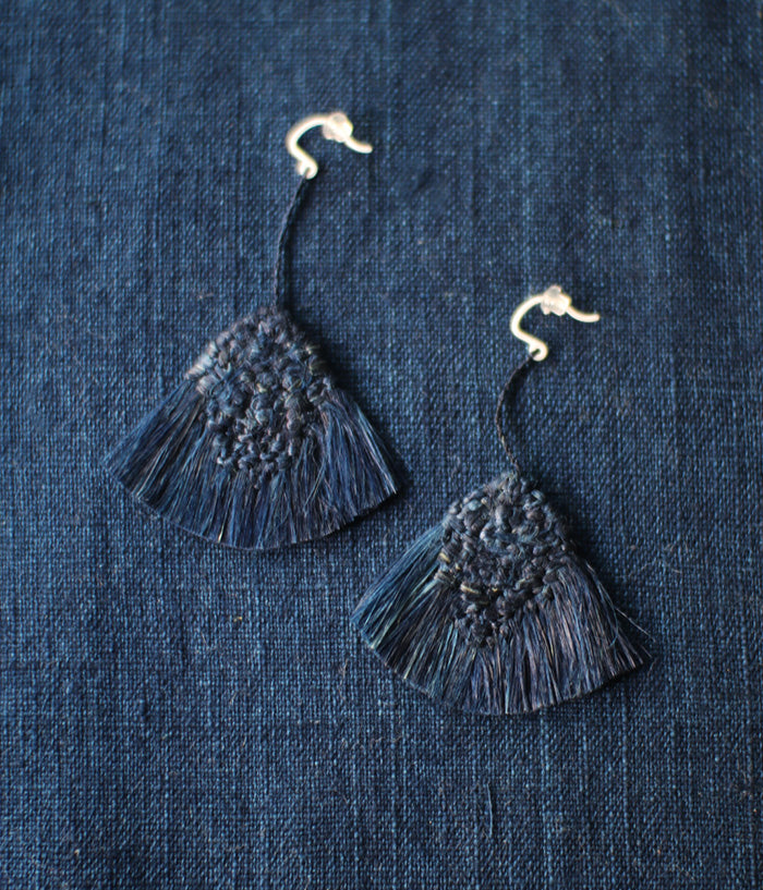 """Hi-Re"" Natural Fiber Earrings {Indigo Dyed}"