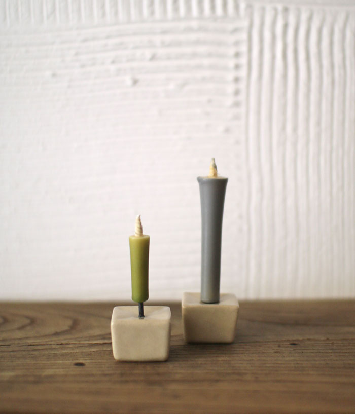 Ceramic Candle Stand RIPPOH {Beige}