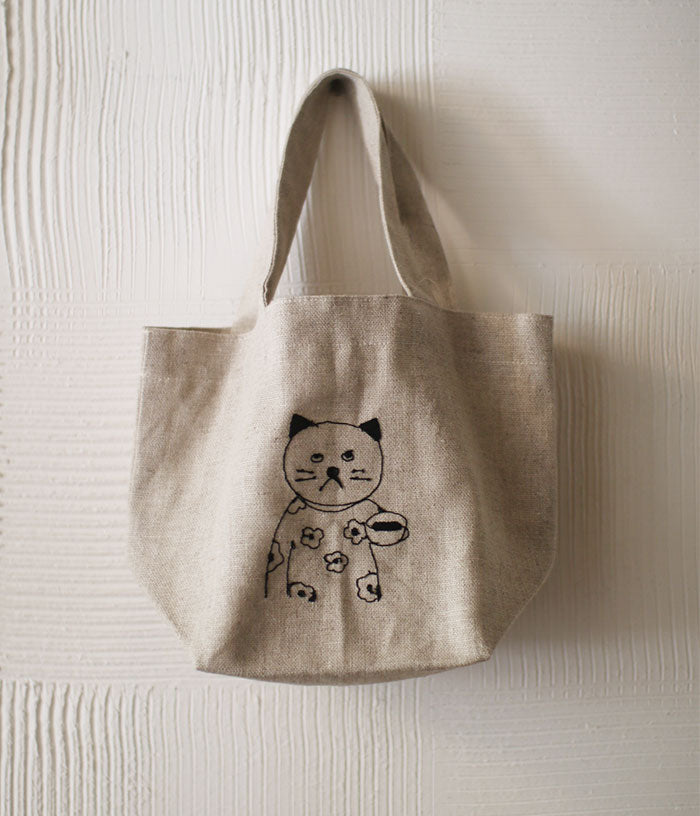 Cat Embroidered Linen Lunch Tote