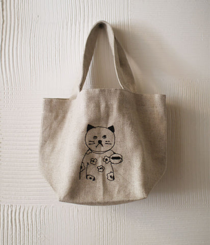 Cat Embroidered Linen Small Lunch Bag