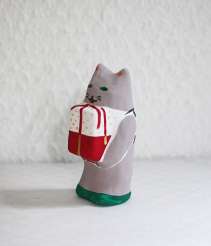 Hariko Japanese Paper Figurine {Grey Cat} - In stock