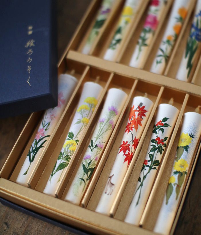 Floral Painted Candles 12 Month Set (backordered)