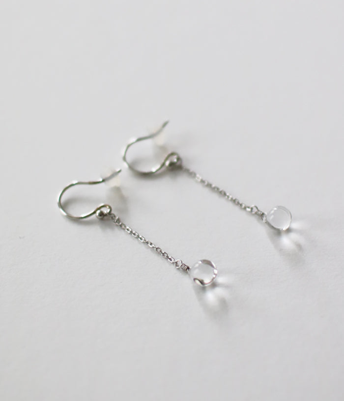 Koto Tsuchiya HARRYS Glass Droplet Earrings {Silver}