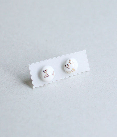 Kimiko Suzuki Ceramic Porcelain Tablet Stud Earrings #66