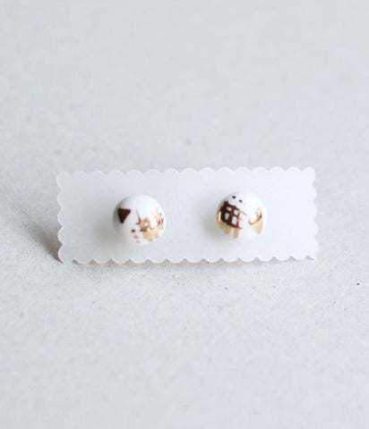 Kimiko Suzuki Ceramic Porcelain Tablet Stud Earrings #65