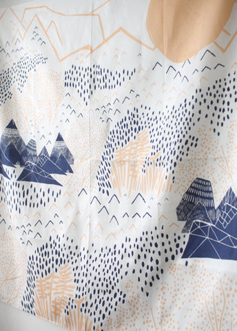 Furoshiki Wrapping Cloth - LINK x Leah Duncan {Mountain Blossom} Ivory, peach x blue