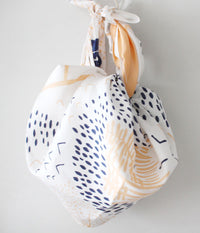 Furoshiki Wrapping Cloth {Mountain Blossom} Ivory, peach x blue