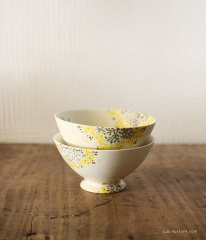 [SOLD OUT] YAMANOBE Aya Ceramic Bowl Small {Yellow Flower & Bird}