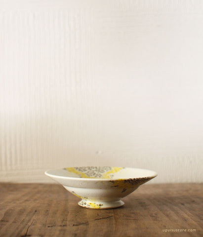 Aya Yamanobe Ceramic Bowl with Rim Small {Yellow Flower & Bird}