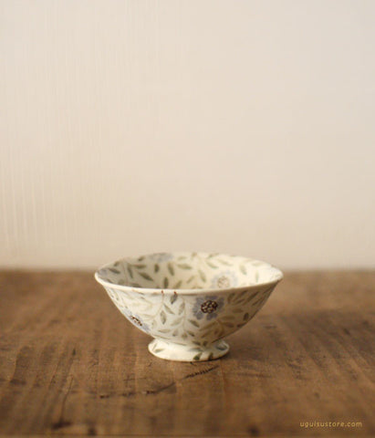 SOLD OUT - Aya Yamanobe Ceramic Mini Bowl {Green Leaves and Flowers}