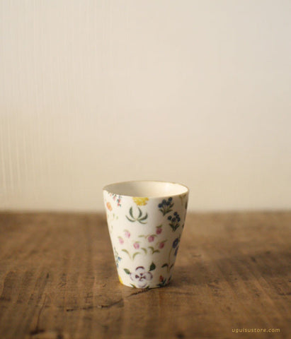 SOLD OUT - Aya Yamanobe Ceramic Mini Cup {Colourful Flowers)