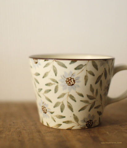 SOLD OUT - Aya Yamanobe Ceramic Mug {Green Leaves and Flowers}