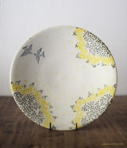 SOLD OUT - Aya Yamanobe Ceramic Plate 20cm {Yellow Flower & Bird}