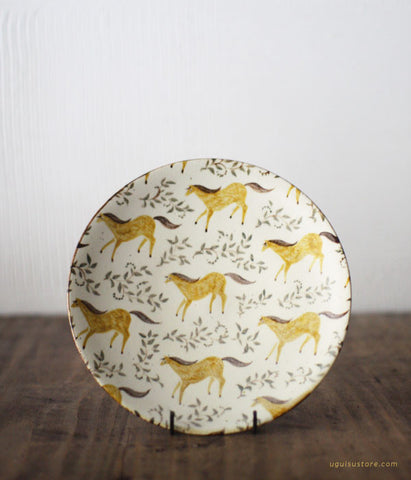 SOLD OUT - Aya Yamanobe Ceramic Plate 17.2cm {Horses}