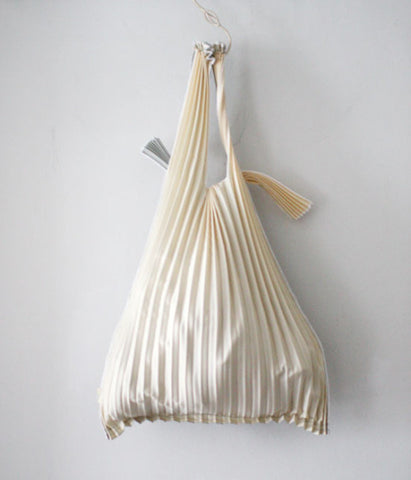Pleated Eco-Bag Small {Beige/Silver}