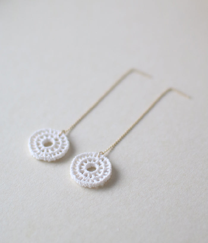 Kimiko Suzuki White Porcelain Threader Earrings