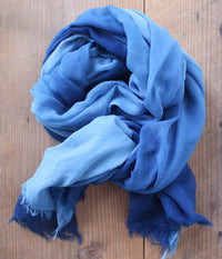 Aizome Indigo Dyed Cotton Large Scarf {Gradient A}