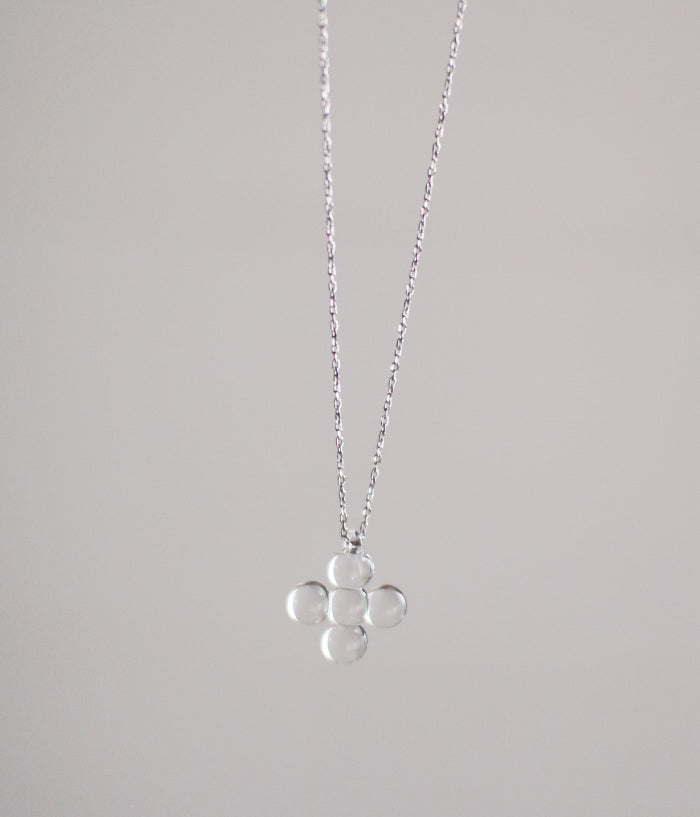 Tiny Cross Glass Necklace