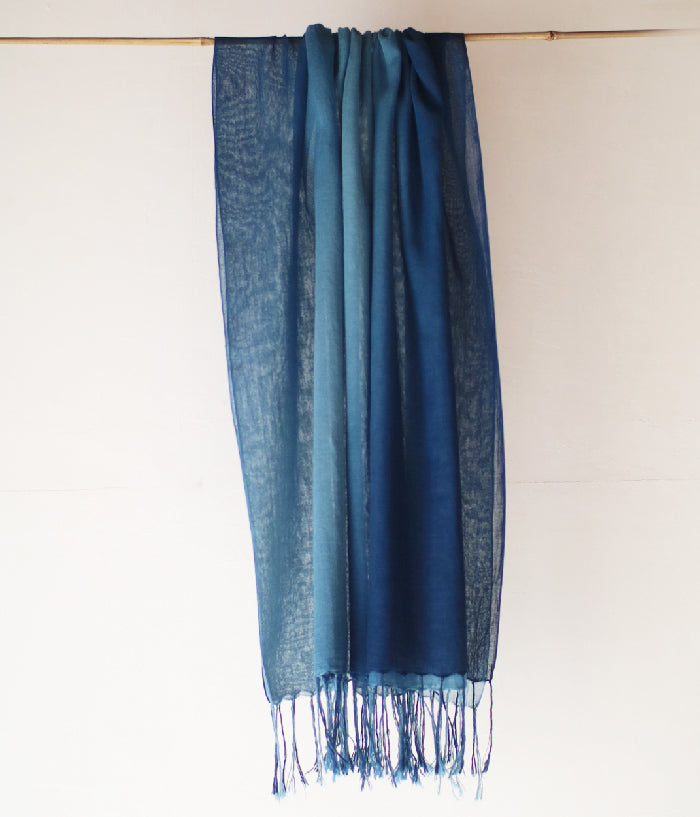 Aizome Indigo Dyed Organic Cotton Large Scarf {Gradient}