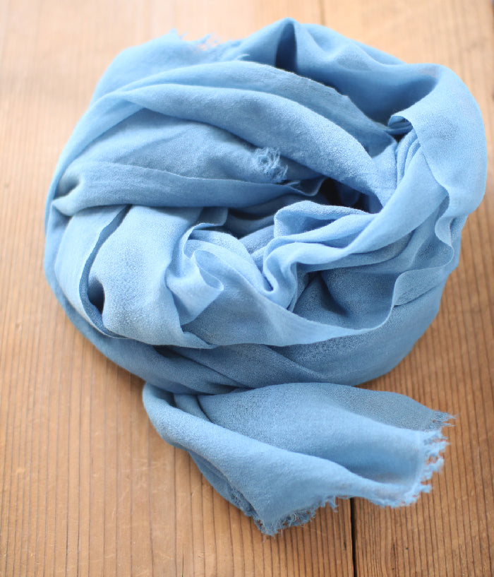 Aizome Indigo Dyed Cotton Large Scarf {Solid}