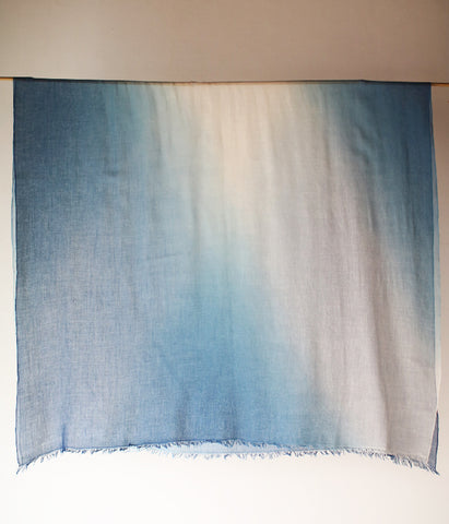 Aizome Indigo Dyed Cotton Large Scarf {Gradient B}
