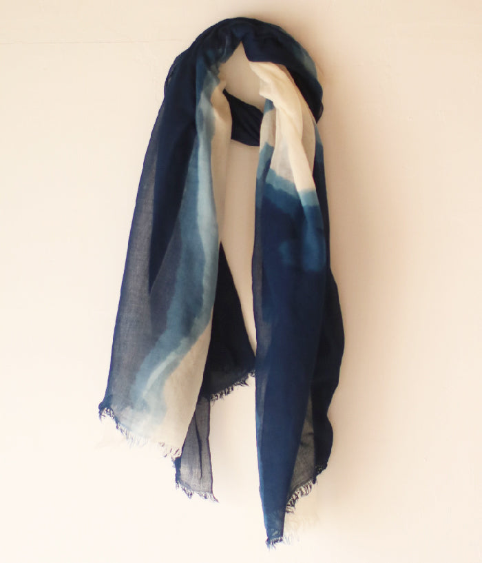 Aizome Indigo Dyed Cotton Large Scarf {Patterned}