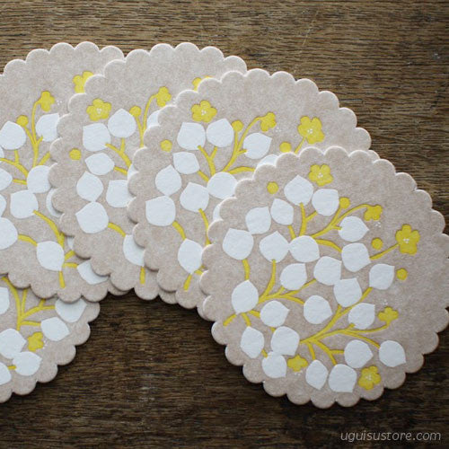 Letterpress Coaster Pack of 5 {Road Side Flowers}