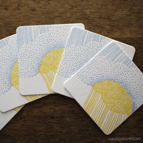 Letterpress Coaster Pack of 5 {Rain}