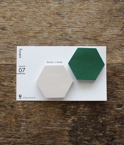 "Drop Around ""fusen"" Sticky Notes {07: kinari+koke / Honeycomb}"