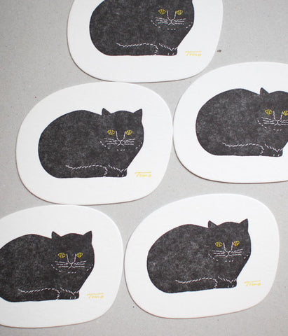 Black Cat Letterpress Paper Coasters