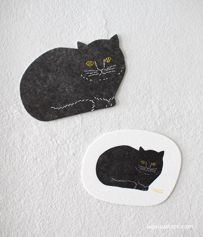 Tomotake Black Cat Letterpress Paper Coasters