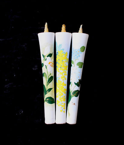 Flower Painted Candles Set
