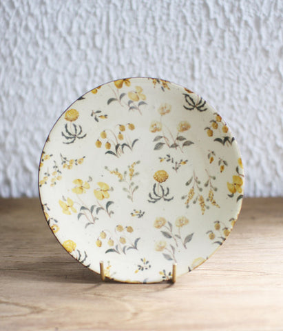 [SOLD OUT] Aya Yamanobe Ceramic Plate 16cm {Wild Flowers Yellow}