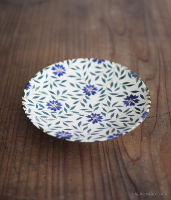 [SOLD OUT] Aya Yamanobe Ceramic Plate 16.5cm {Dark Blue Flowers}