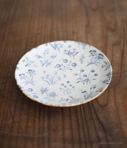 [SOLD OUT] Aya Yamanobe Ceramic Plate 15.5cm {Wild Flowers Blue}