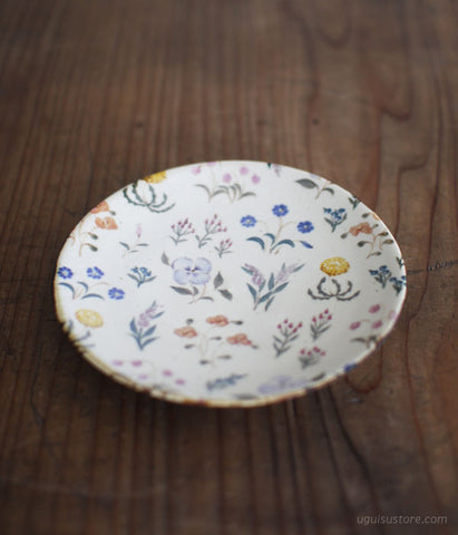 Hand Painted Ceramic Plate 15.5cm {Wild Flowers Colourful}