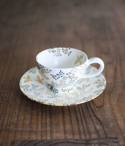 Hand Painted Teacup & Plate Set {Baden Leaf}