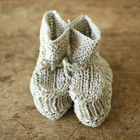 fog linen work Knitted Linen Baby Booties
