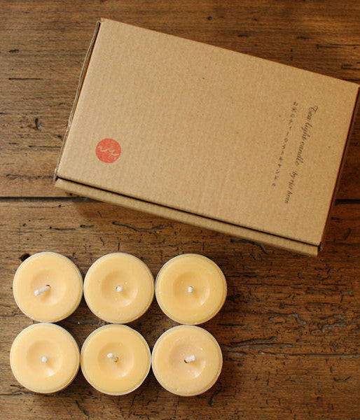Hitohito Rice Bran Wax Japanese Tea Light Candles