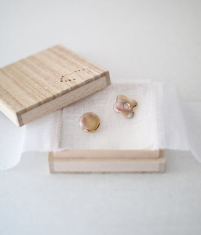 Kimiko Suzuki Porcelain + Gold + Sometsuke Earrings Small #02