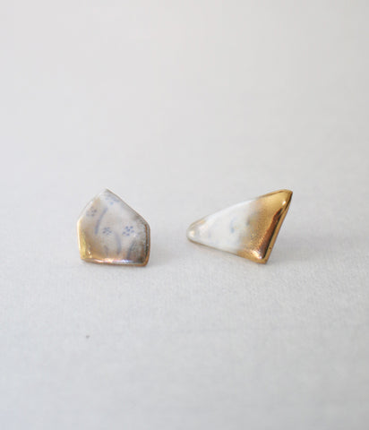 Kimiko Suzuki Porcelain + Gold + Sometsuke Earrings Medium #03