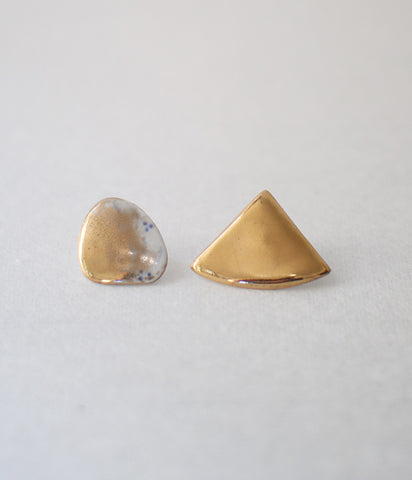 Kimiko Suzuki Porcelain + Gold + Sometsuke Earrings Medium #02