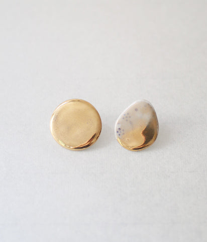 Kimiko Suzuki Porcelain + Gold + Sometsuke Earrings Medium #01