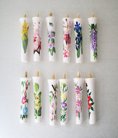 Japanese Traditional Floral Painted Candles 12 Month Set (Rice Bran Wax)
