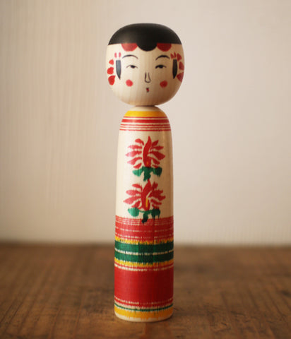 Kokeshi Doll Double Chrysanthemums (19cm/7.5 inch)