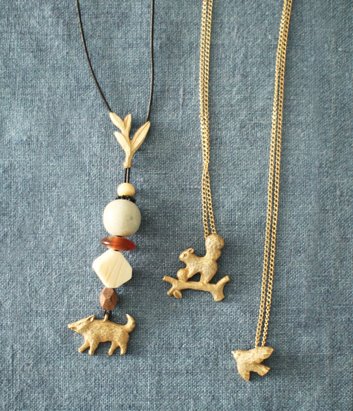 KIYATA Tin Squirrel Necklace