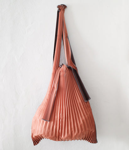 Pleated Eco-Bag Large {Brick Red x Dark Brown}