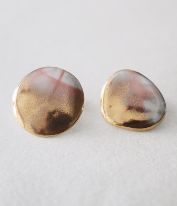 Kimiko Suzuki Porcelain + Gold + Sometsuke Earrings Medium (Clip Type) PC01