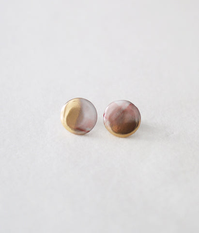 Kimiko Suzuki Porcelain + Gold + Sometsuke Earrings Small P05